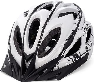FUNWICT Casco Bicicleta con Visera Removable Casco Bicicleta de Montaña con Luz Trasera para Hombre Mujer Ciclismo Casco A...