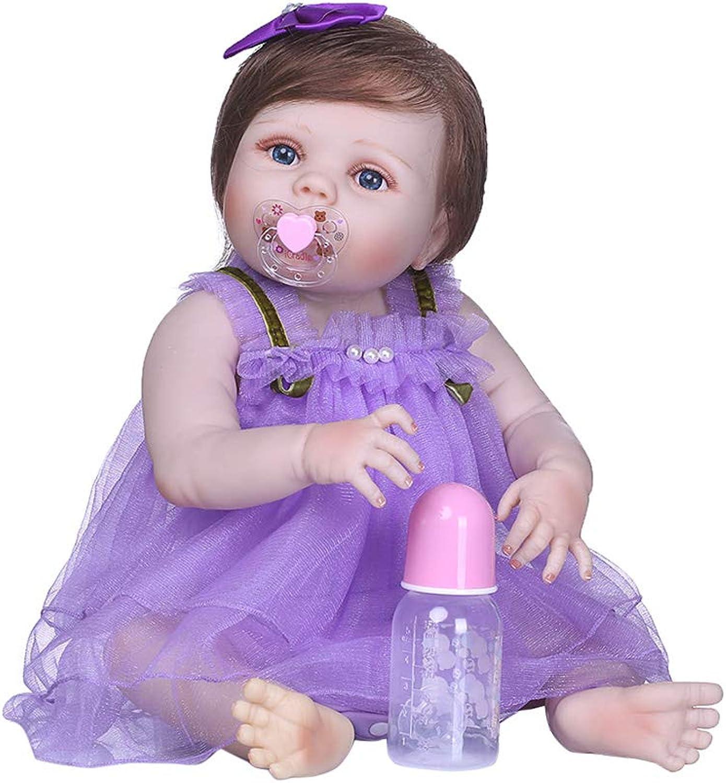 Kofun Wiedergeborenes Neugeborenes Baby Realike Puppe Handgemachtes Lebensechtes Silikon, Lila Tüllrock Bogen Haarspange Ideale Weihnachtsgeburtstags-Puppe Für Kinder 22 Zoll