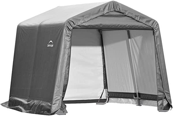 ShelterLogic 10 X 10 Shed In A Box All Season Steel Metal Peak Roof Outdoor Storage Shed With Waterproof Cover And Heavy Duty Reusable Auger Anchors