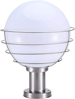 Globe Column Light Lantern Brushed Stainless Steel Acrylic Outdoor Waterproof E27 Pillar Post Lamps Creative Ball Courtyar...