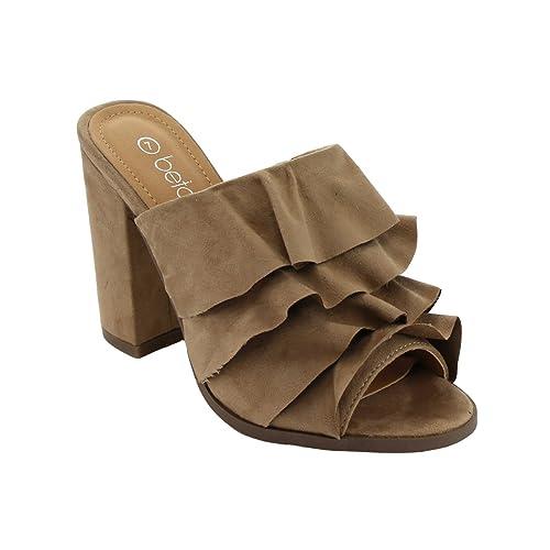 fb8e9dcda55 Betani FK51 Women s Peep Toe Ruffles Slip On Block Heel Mule Sandals