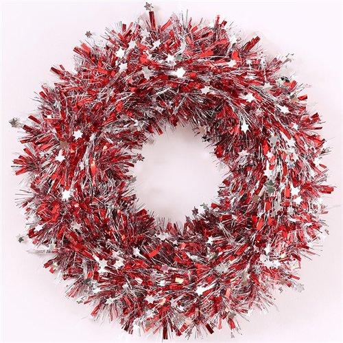 Endless Creations - Ghirlanda in Stagno con Mini Stelle argentate, 37 cm, Colore: Rosso