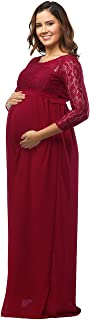 Maternity Fitted 3/4 Sleeve Lace Top Chiffon Gown Plus Size Maxi Photography Dress