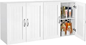 YAHEETECH Wall Mount Cabinet, Home Kitchen/Bathroom/Laundry 2 Door Wall Storage Cabinet with Adjustable Shelf, White, 23in x 23in, Set of 2