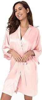 SIORO Kimono Robe Damen Long Satin Bademantel Seide Leichter seidiger Bademantel für Brautjungfern Brautparty Loungewear mit Taschen