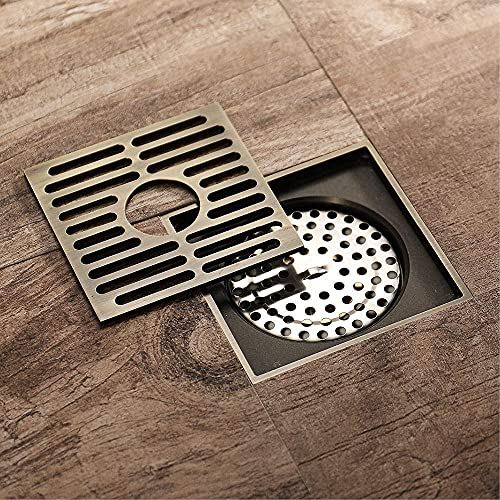 GPWDSN Drenaje de Piso de Lavadora de Cobre Desodorante antiinsectos de Bronce Antiguo Lavadora Drenaje de Piso General