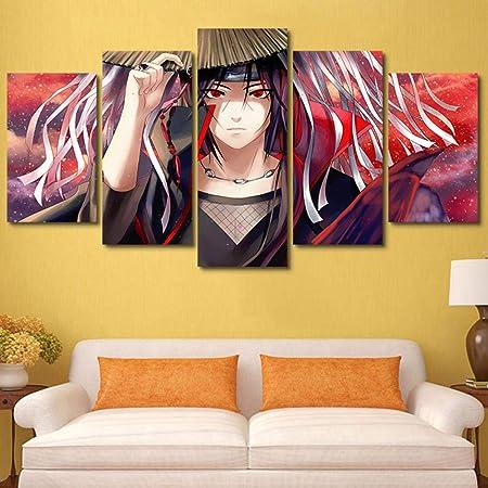 SINGLEAART Impressions sur Toile,5 Tableau Peinture,Décoration Maison Moderne,Modulaire Panneaux Motif Tableau,Cadeau d'anniversaire,Naruto,Uchiha Itachi,200Cm×100Cm,avec Cadre