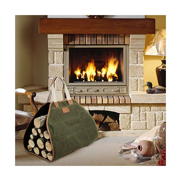 INNO STAGE Canvas Log Carrier Bag,Waxed Durable Wood Tote,Fireplace Stove Accessories,Extra Large Firewood Holder with… 1