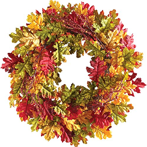 Collections Etc. Colorful Fall Leaf Wreath with Berries, Holiday Fall Decor Wreath