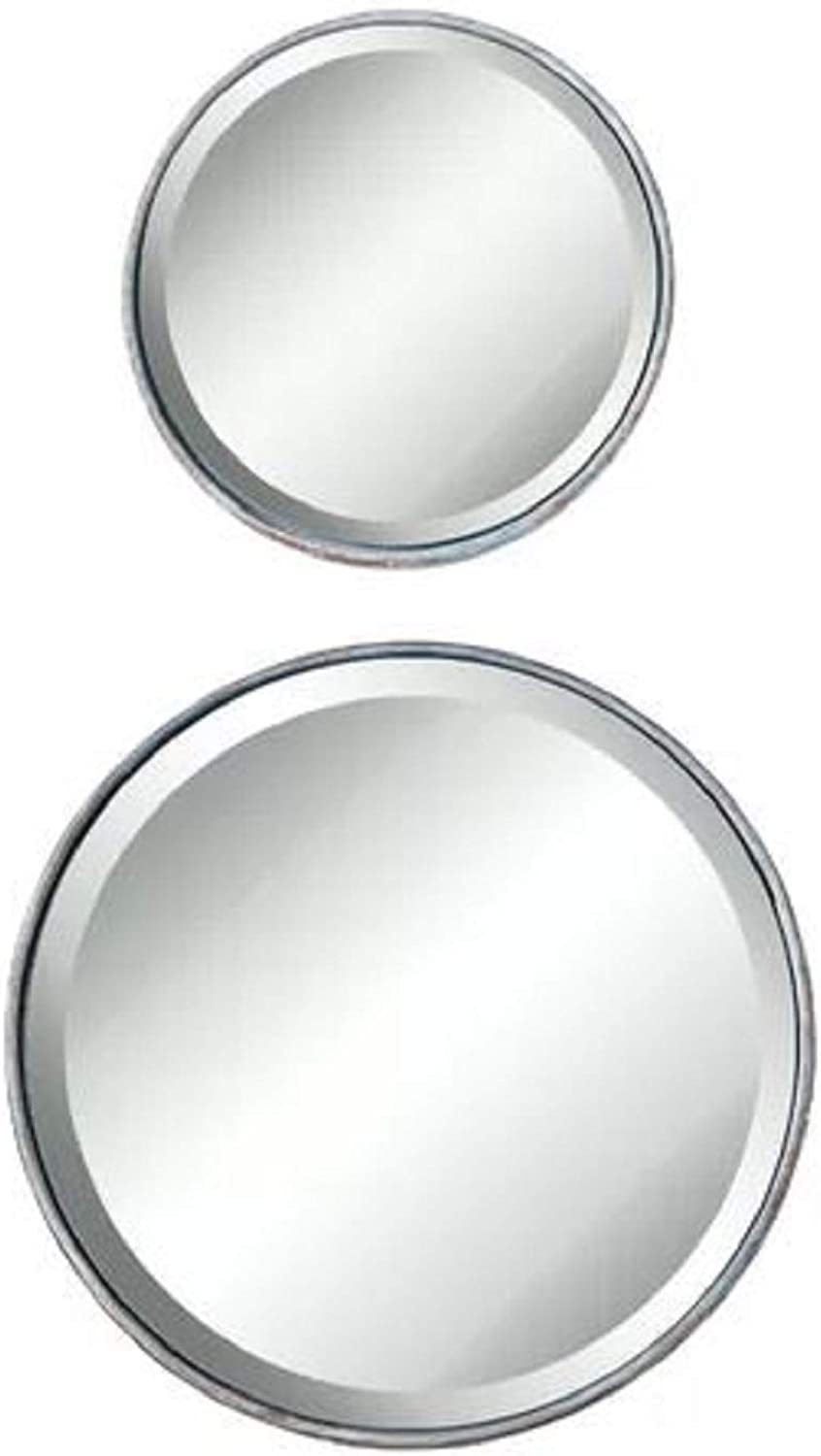House Decoration Modern Accent Mirror. Justis Small Round Metal House Decoration Modern Accent Mirror Distressed Metal Beveled Glass Wall Mounted Silver