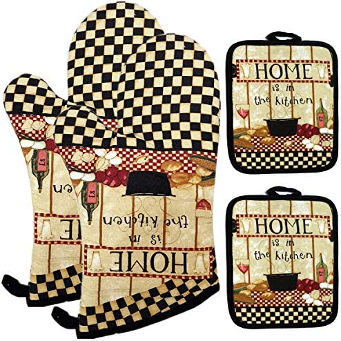Lichrey Oven Mitts and Pot Holders Sets Kitchen Oven Gloves of Heat Resistant 480 Degrees Funny product image