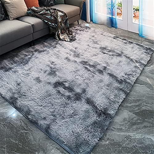 LBMTFFFFFF Alfombra moderna minimalista para el hogar, el salón, de un solo color, de seda, para dormitorio, cama, pelo largo, estilo nórdico, 80 x 160 cm