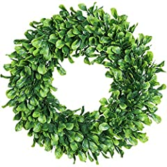 "【Proper Size】-- This artificial boxwood wreath measures 15"" in diameter and 3"" in thickness. Shaping is required to achieve a full and lifelike look upon delivery. 【Decorative Wreath】-- This green wreath is surrounded by fake boxwood leaves, simple e..."