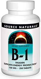 Source Naturals Vitamin B-1 Thiamin 100 mg Supports Energy Production - 250 Tablets