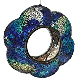 Sunnydaze Indigo Flower Fly-Through Bird Feeder, Unique Hanging Outdoor Decorative Glass, Round, 9-Inch