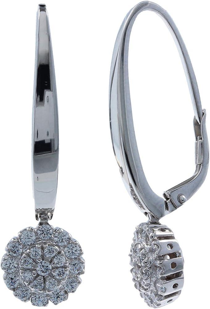 Gioiello italiano - orecchini in oro 14kt con zirconi bianchi da donna 14or04