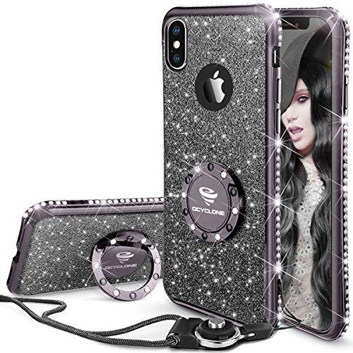OCYCLONE iPhone X Hülle, Glitzer Handy Hülle iPhone XS mit Ring 360 Grad Ständer, Bling Diamant Dünne Sparkly Schützhülle für Mädchen Frauen iPhone X/iPhone XS Hülle - Schwarz Lila