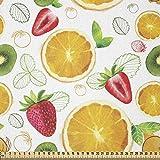 ABAKUHAUS frutas Tela por Metro, Citrus Fresh kiwi limón, Tela Elastizada Estampada para Costura Arte y Bricolaje, 2 Metros, Tierra Amarilla verde lima