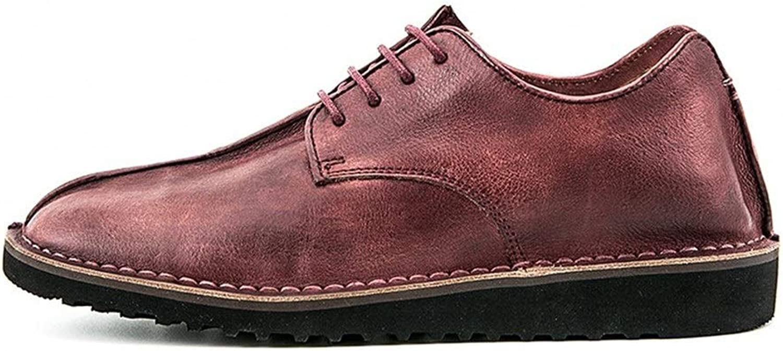 Easy Go Shopping Springaa läderskor mansskor mocka mocka mocka läder slipsar mäns handgjorda skor tillfälliga engelska läderskor herrskor Oxford Dress skor Cricket skor (färg  röd, Storlek  9 -UK)  billig