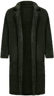 IZHH Men Long Jacket Coat Velvet Parka Coat Solid Casual Fashion Outwear Winter