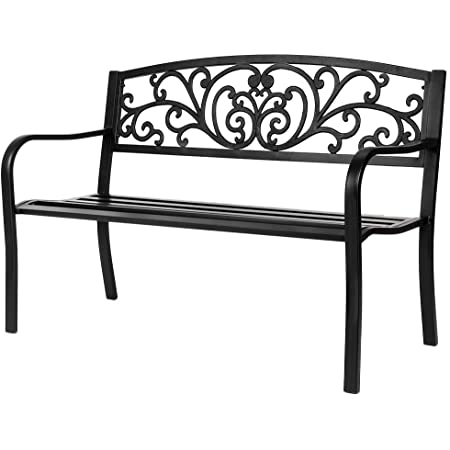 Amazon Com Best Choice Products 50in Steel Garden Bench For Outdoor Park Yard Patio Furniture Chair W Floral Design Backrest Slatted Seat Black Garden Outdoor