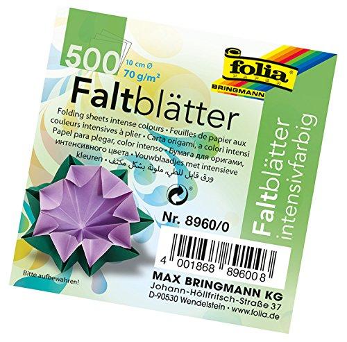 folia 8960/0 - Faltblätter rund, Durchmesser 10 cm, 70 g/qm, 500 Blatt sortiert in 10 Farben - ideal zum Falten und Formen von wunderschönen Figuren und andere kreative Bastelarbeiten