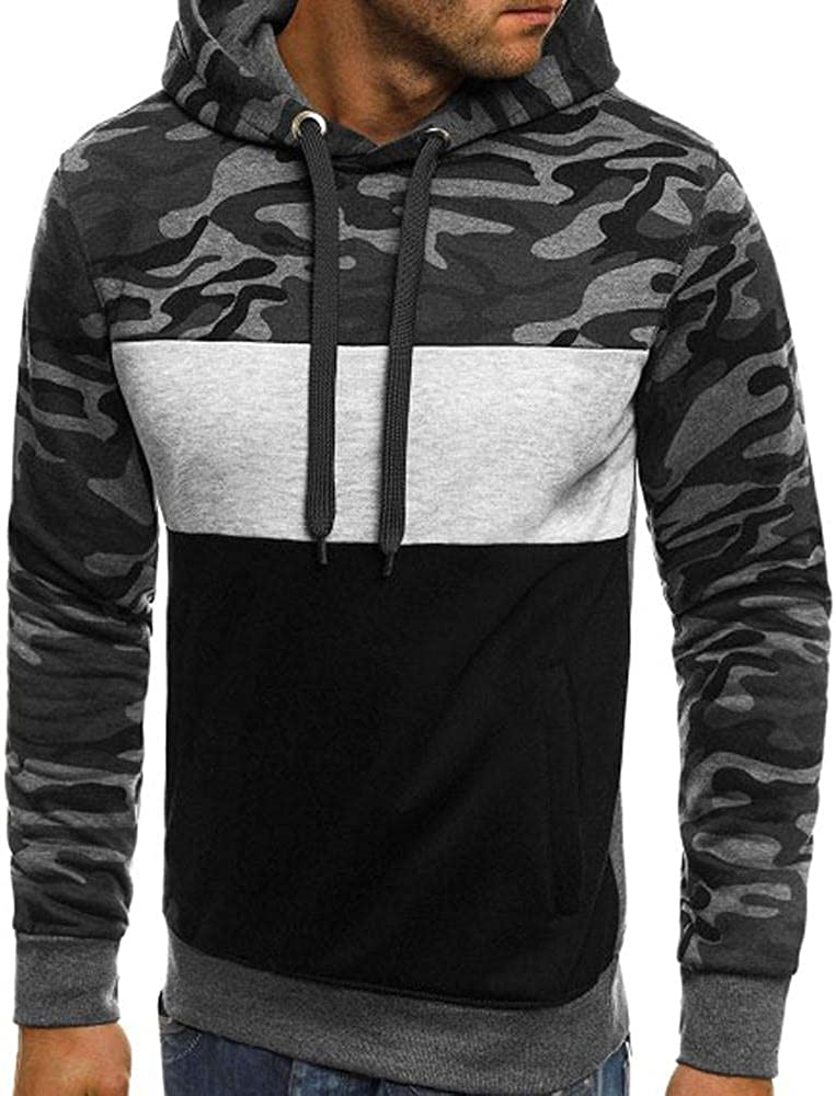 Men's Novelty Hoodies Contrast Color Camouflage Pullover Hooded Fleece Casual Slim Fit Sport Sweatshirts with Pocket