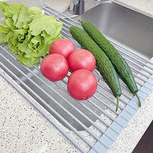 Estante de secado de platos enrollable, acero envuelto en silicona sobre fregadero, estante multiusos para secar platos, frutas, verduras grandes