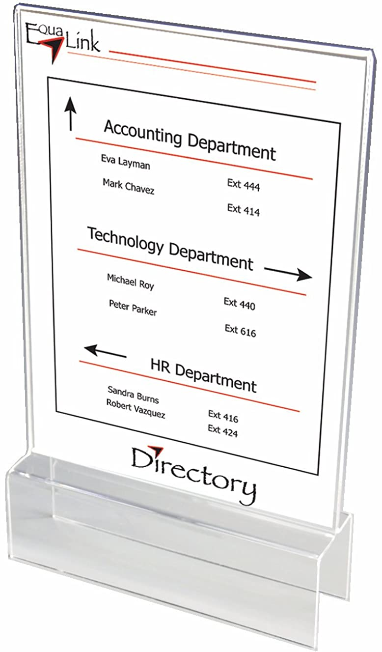 """Clear Acrylic Double-Sided Cubicle Sign Holders 8-1/2"""" wide x 11"""" high x 2"""" deep - CSHH085110020 (4 Pack)"""