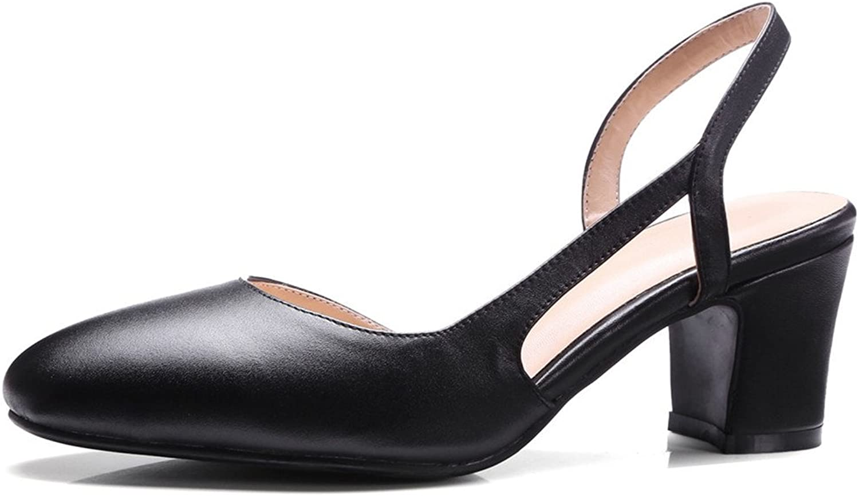 Nine Seven Genuine Leather Women's Pointed Toe Chunky Heel D'orsay Handmade Slingback Pump