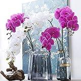 XIAOHONG Lot de 2 branches de fleurs artificielles avec 9 têtes d'orchidées au toucher réel 91,4 cm violet