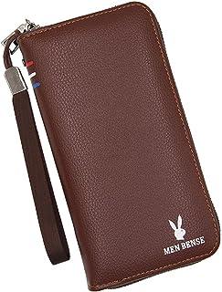BeniNew men's wallet long big capacity zip clutch bag-light brown