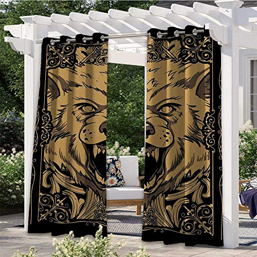 Home Curtains Angry Carnivore Animal Face with Skull Ornamental Curlicues Swirls Lines Frame Elegant Waterproof Curtain Add Elegance to Your Home Black Pale Caramel W108 x L84 Inch
