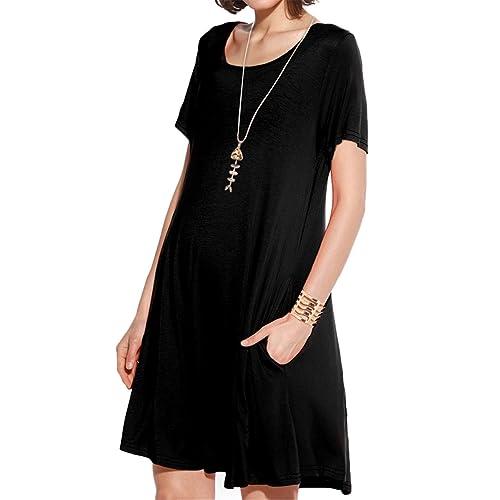809d449e0696 JollieLovin Women s Pockets Casual Swing Loose T-Shirt Dress