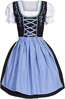 Abito Dirndl Tedesco da Donna, Signore Tradizionali Vestito da Festa per Feste Gonna a Pieghe Svasate, Abito Elegante Clas...