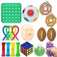 ポップバブル感覚玩具、感覚のフィジットおもちゃセット、ベント減圧縮小スケイズのおもちゃセットイベリティーや不安Gyro Cube Dice Toys (Color : 18 pieces)