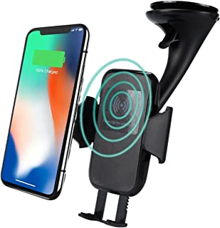 Wireless Car Charger QI Fast Charge Adjustable Car Mount for Android iOS Smart Phones Compatible for Galaxy S7/S8/S9/Note 7/Note8 iPhone 8/8 Plus/X etc.