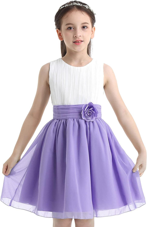 YiZYiF Girls' Kids' Pleated Chiffon Sleeveless Wedding Party Flower Girl Dress Junior Bridesmaid Dress