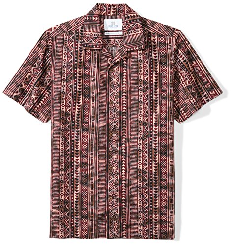 28 Palms Marca Amazon Camisa Batik Hawaiana Tropical Hawaiana de Corte estándar para Hombre, Tiki Brown, Mediana