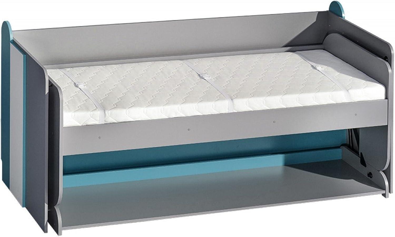 Schrankbett FUTURO Kinderbett Multifunktionsbett Bett mit schreibtisch (wei   graphite   türkis)