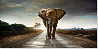 Wieco Art Elephant Canvas Paintings Wall Art One piece Modern Large Stretched and Framed Landscape Animals Pictures on Giclee Canvas Prints Artwork Decor for Living Room Bedroom Home Decorations L