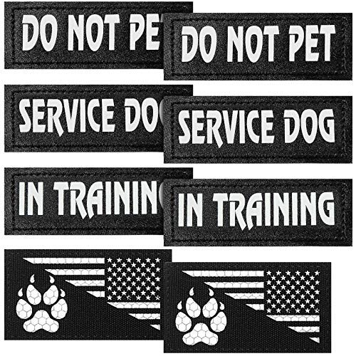 Weewooday 8 Pieces Reflective Dog Vest Patches, Removable Tactical Patches for Dog Harness Service Dog in Training and Dog Halter Patches with Printed Dog Paw and Flag (11 x 4 cm/ 4.33 x 1.57 Inch)