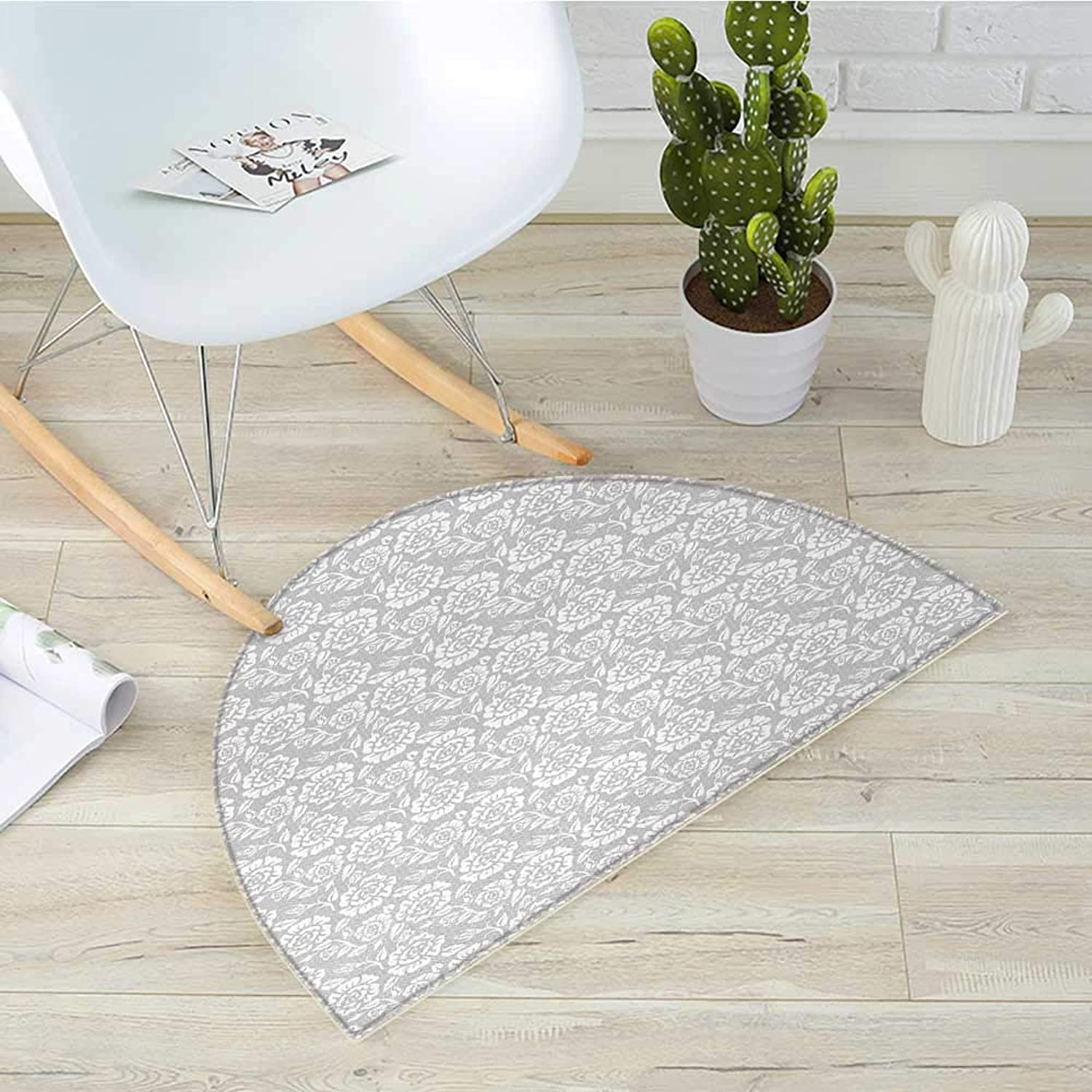 Grey Half Round Door mats Retro Inspired Floral Design with Past Effects Dated Botanical Old Victorian Features Bathroom Mat H 39.3  xD 59  Pale Green