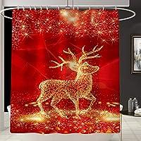 カーテンクリスマスエルクシャワー防水バスタブのカーテン、寮の浴室のクリスマスの装飾電気ショック療法のために使用されるポリエステル絶妙なパターン印刷浴室デコレーション、 red-180