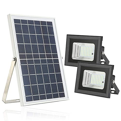 Solar Flood Lights with Remote,Moresun Dusk to Dawn 10W Dual 64 LEDs Solar Powered