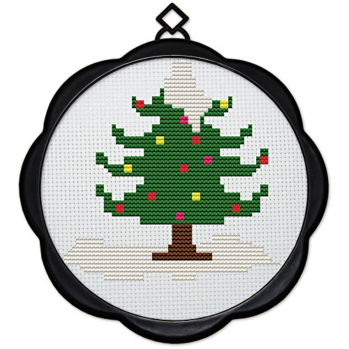 Maydear Full Range of Embroidery Starter Kits Stamped Cross Stitch Kits Beginners for DIY Embroidery 11CT 3 Strands - Christmas Tree 6.7 × 6.7 inch