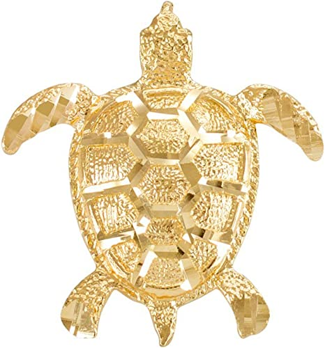Textured 14k Yellow Gold Good Luck Sea Turtle Charm Pendant