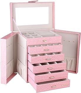 Large Jewellery Box Watch Beads Bracelets Rings Earrings Pins Cufflinks Storage Display Case 231 (Pink)