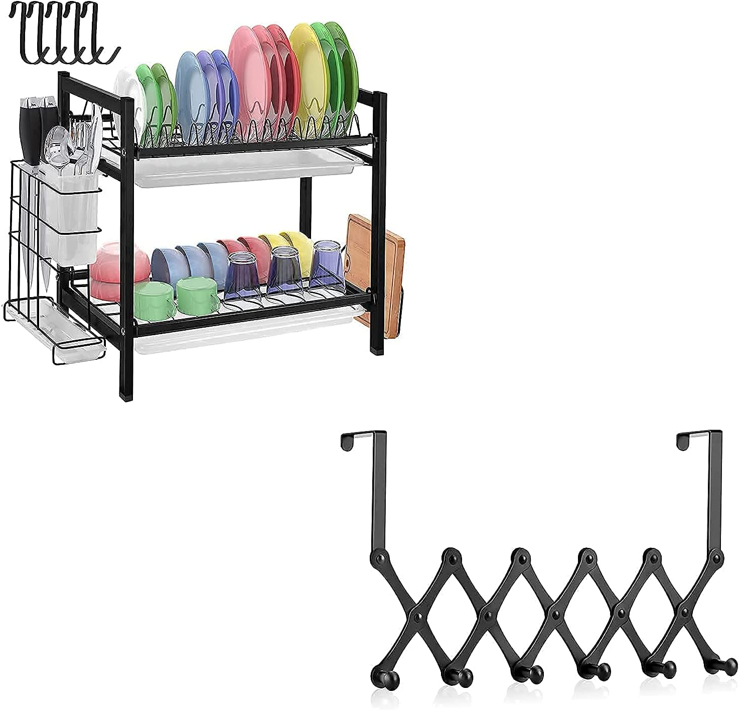 Aifacay 2 Tier Dish Drying Rack Gifts + Hooks 1 Door Over Pack Fees free The