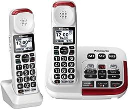 تلفن بی سیم تقویت شده Panasonic KX-TGM420W + (1) KX-TGMA44W با دستگاه پاسخگویی دیجیتال و تقویت کننده صدا برای حداکثر 40 دسی بل (2 گوشی)